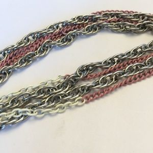 Vintage Silver, White & Pink Chain Necklace